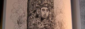 Ausschnitt - Stele - Copan - Reisen in Zentralamerika - Stephens