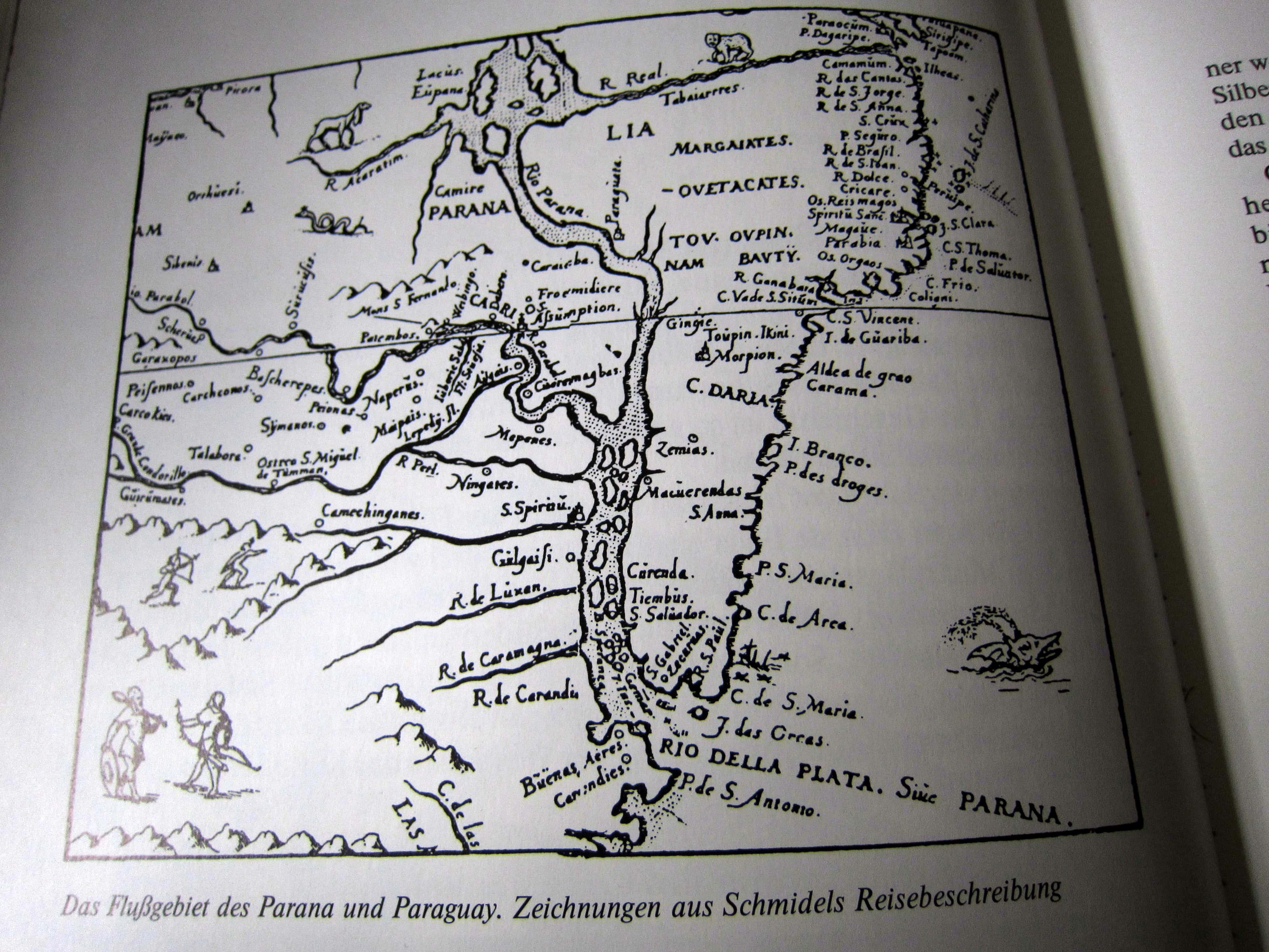 Paraguay - Karte Schmidels - Auf verwehten Spuren - Martin Schliessler