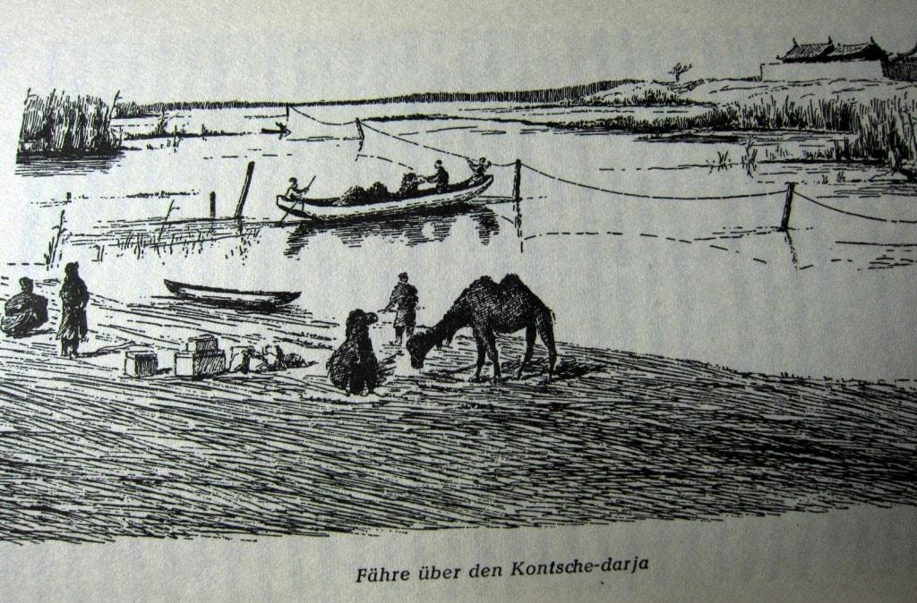 Fähre über den Kontsche-Darja - Durch Asiens Wüsten - Sven Hedin - dasbestebuchderwelt.de