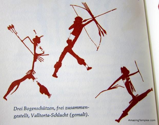 Drei Bogenschützen frei zusammen gestellt - Valltorta-Schlucht
