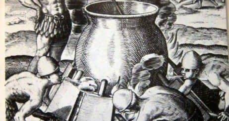 Chibcha beim Goldschmelzen