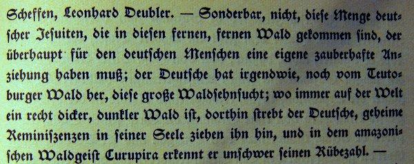 """""""Sonderbar, nicht, diese Mengedeutscher Jesuiten, die in diesen fernen, fernen Wald gekommen sind, der überhaupt für den deutschen Menschen eine eigene zauberhafte Anziehung haben muß; der Deutsche hat irgendwie, noch vom Teutoburger Wald her, diese große Waldsehnsucht; wo immer auf der Welt ein recht dicker, dunkler Wald ist, dorthin strebt der Deutsche, geheime Reminiszensen in seiner Seele ziehen ihn hin, und in dem amazonischen Waldgeist Curupira erkennt er unschwer seinen Rübezahl."""""""