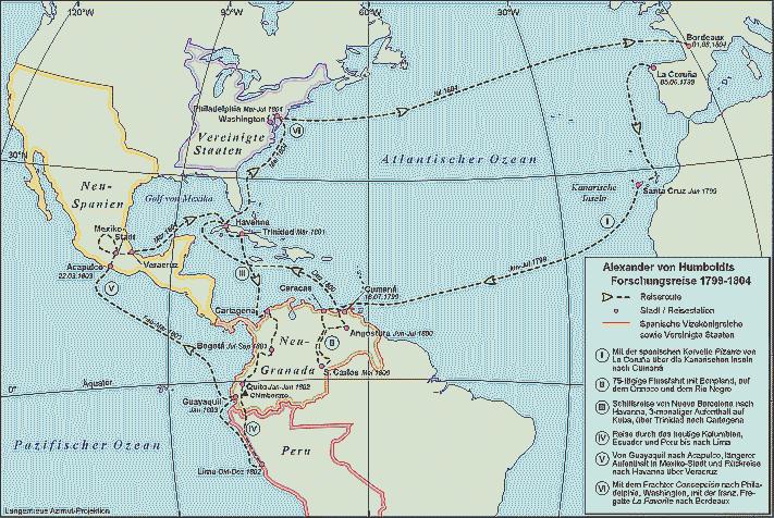 Landkarte von der Südamerikareise Humboldts