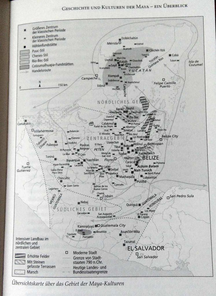 Übersichtskarte über das Gebiet der Mayakulturen - Das Alte Mexiko und seine Hochkulturen - Ulrike Peters