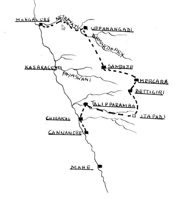 Ungefähre Route, die Bonsels auf seiner Reise eingeschlagen hat - Quelle: unbekannt, http://shodhganga.inflibnet.ac.in/bitstream/10603/147532/6/05_chapter%202.pdf