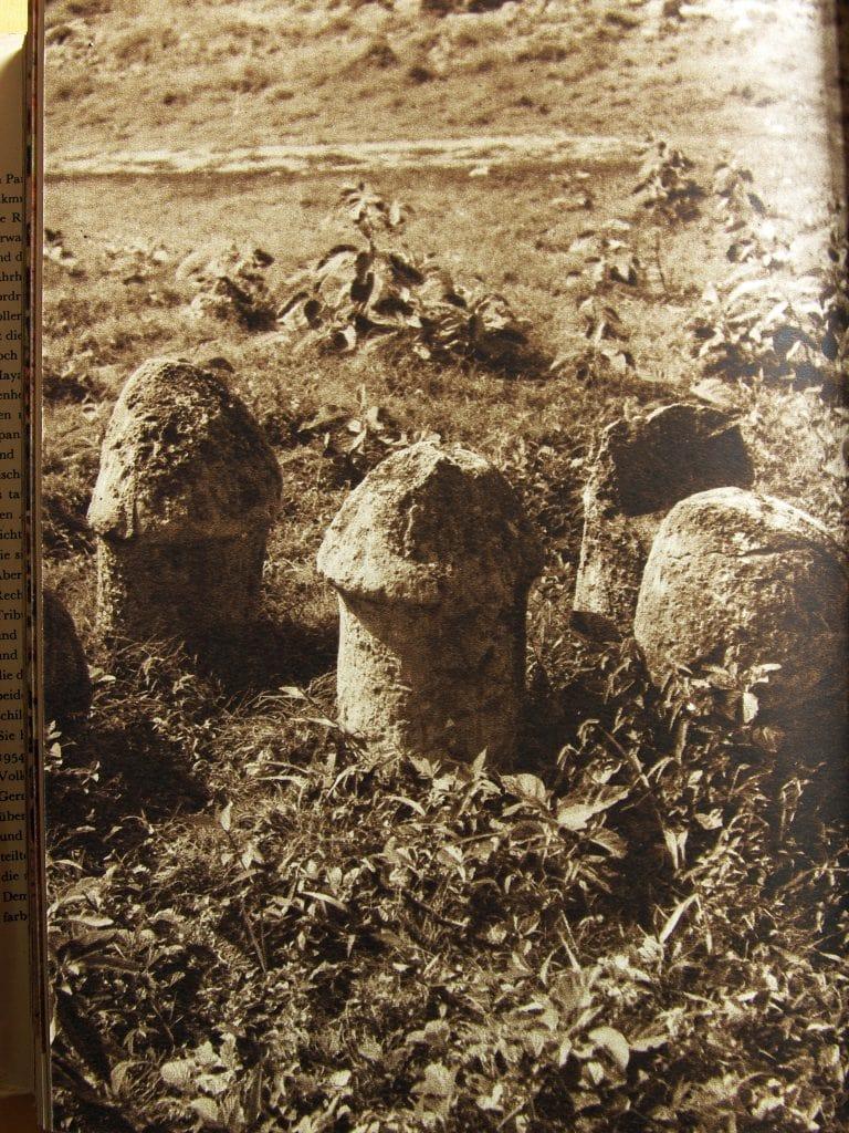 Pilzsteine oder Phallussymbole in Uxmal